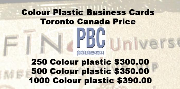 Colour Plastic Business Cards Toronto Canada Price